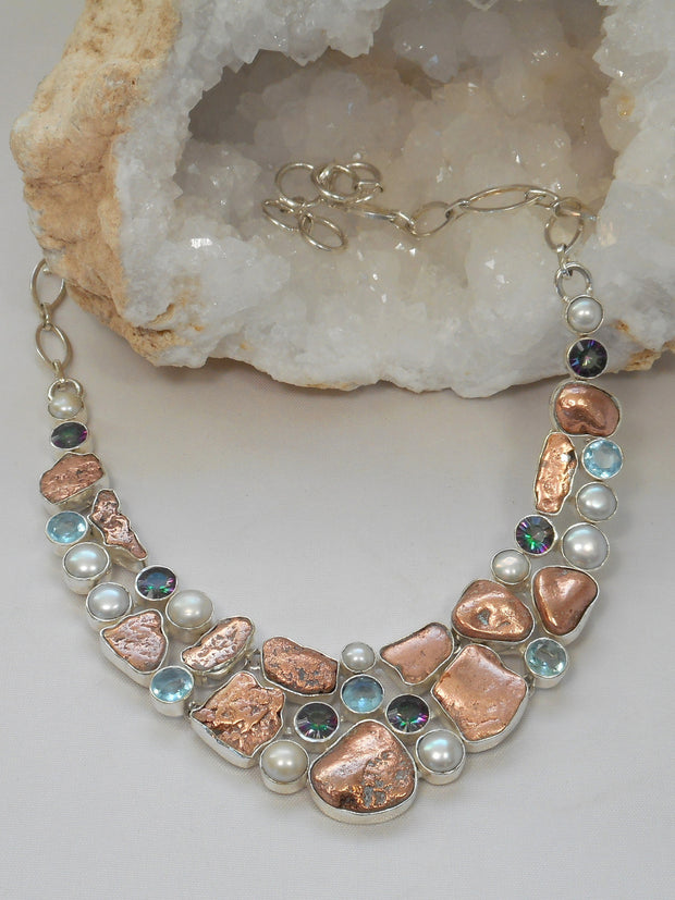 Native Copper and Pearl Necklace with Blue Topaz