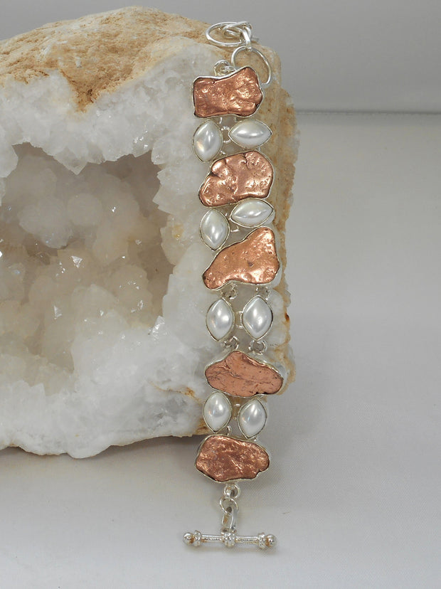 Native Copper and Pearl Bracelet
