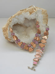 Native Copper and Pink Druzy Quartz Necklace