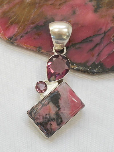 Rhodonite and Sterling Pendant 2 with Amethyst Quartz