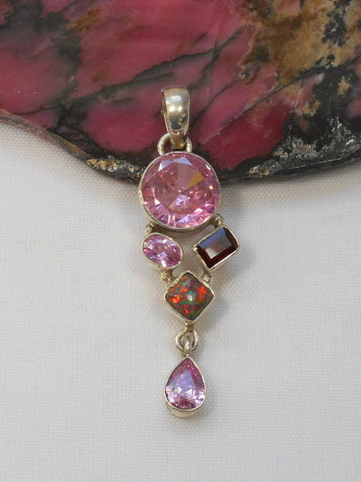 Pink Kunzite Quartz and Sterling Pendant 1 with Fire Opal and Garnet
