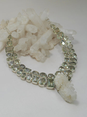 *Green Amethyst Quartz Artisan Gemstones Necklace 1