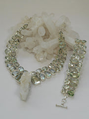 Green Amethyst And Rough Quartz Crystal Artisan Gemstones Necklace 1