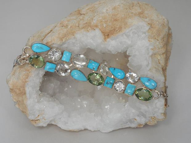 Artisan Turquoise Bracelet 5 with Amethyst Quartz and Topaz