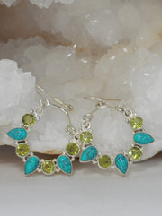 Artisan Turquoise and Peridot Quartz Hoop Earring Set
