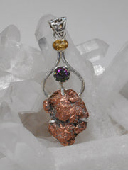 Native Copper Pendant 1 with Topaz and Citrine Quartz