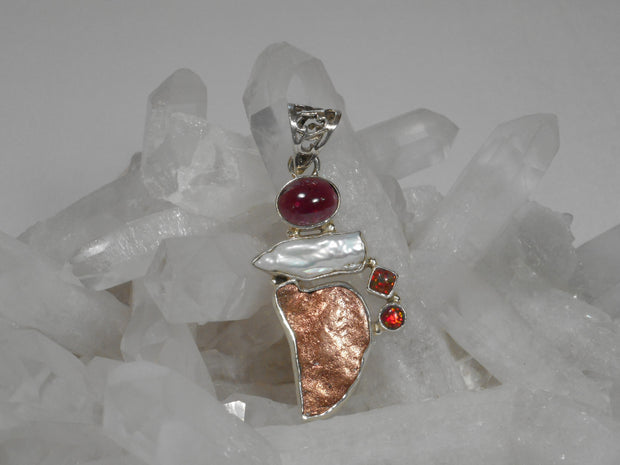 Native Copper Pendant 4 with Garnet, Opal and Pearl