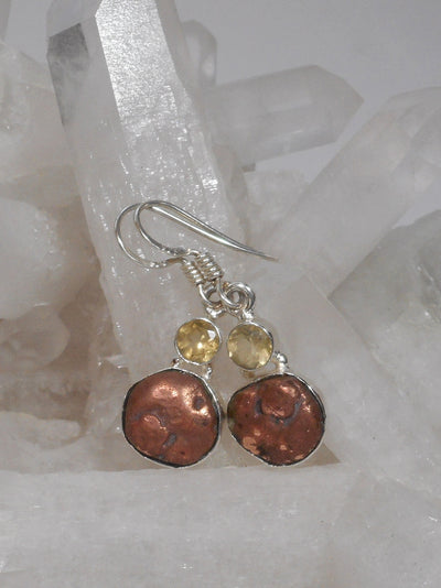 Native Copper and Citrine Quartz Earring Set 1