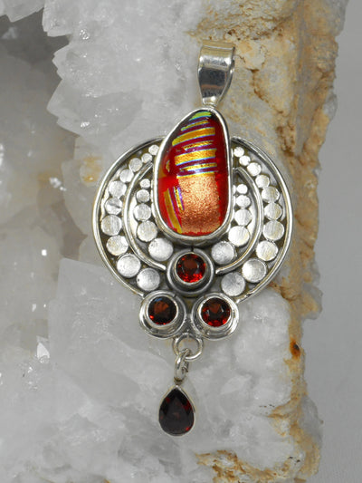Dichroic Glass AJC Signature Pendant 11 with Garnet