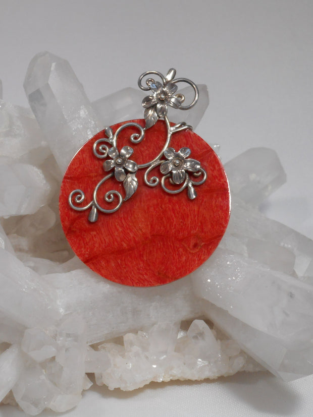 Coral Pendant with Sterling Scrollwork