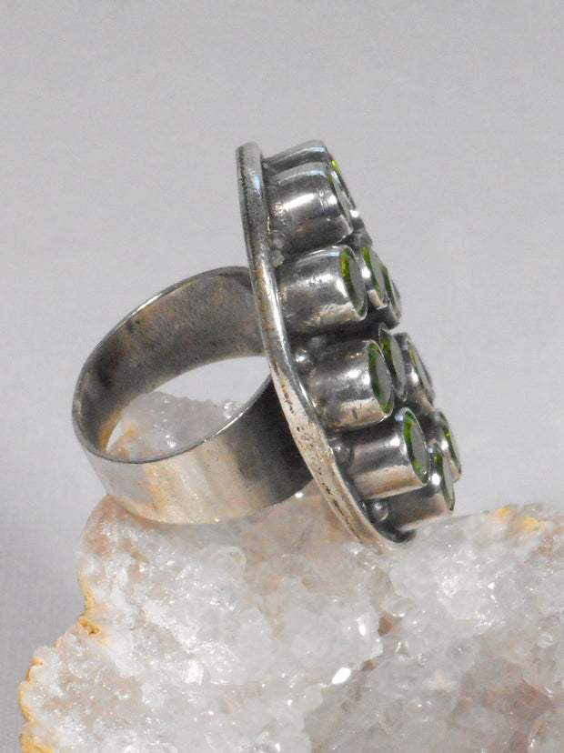 Faceted Peridot Quartz and Sterling Ring 1