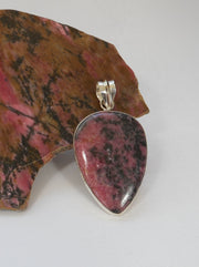 Rhodonite and Sterling Pendant 1
