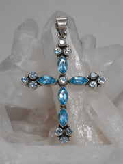 Blue Topaz Jewelled Cross