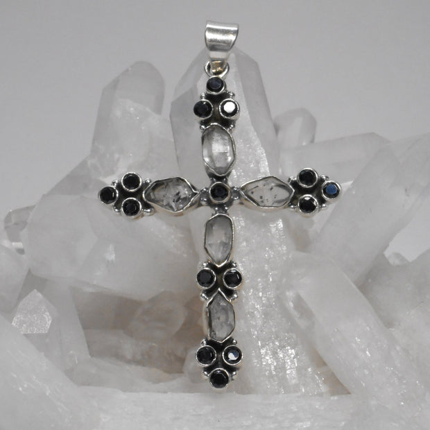 Herkimer Diamond Quartz Crystal Jewelled Cross