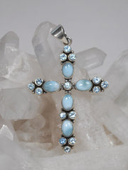 Larimar and Blue Topaz Jewelled Cross