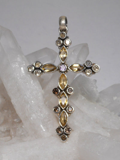 Citrine Quartz Jeweled Cross