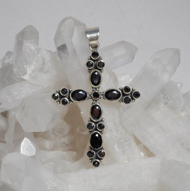 Black Onyx and Sterling Cross 1