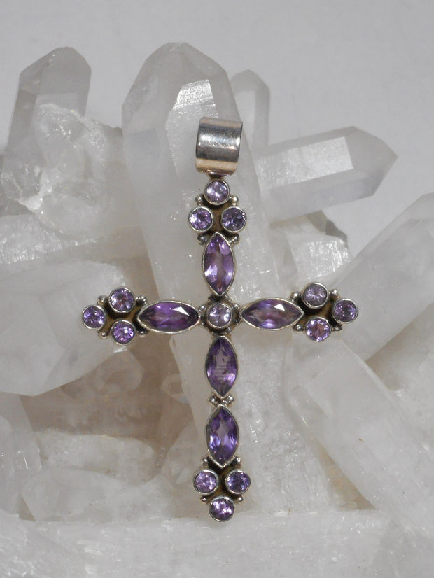 Amethyst Jewelled Cross 1