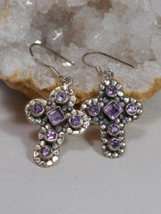 Amethyst Quartz Jeweled Cross Earring Set