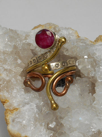 Ruby and Sterling Ring 10