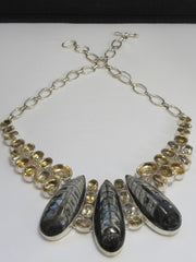 Citrine Quartz Crystal and Orthoceras Fossil Gemstone Necklace