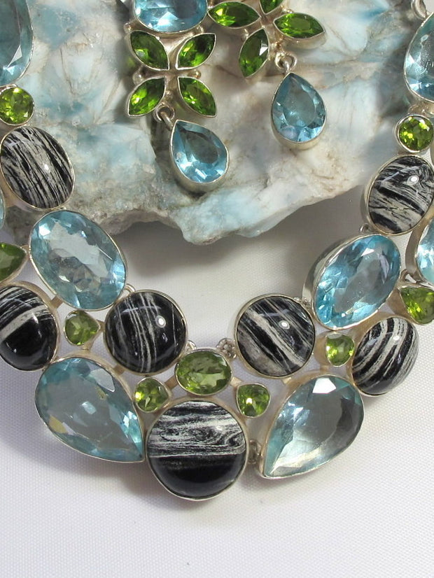 Zebra Jasper, Peridot and Blue Topaz Gemstones Necklace