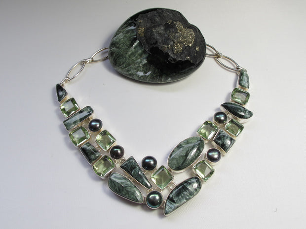 Seraphinite and Green Amethyst Quartz Necklace with Pearls