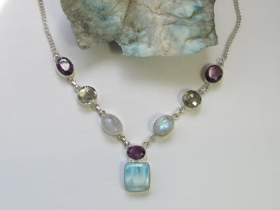 Delicate Larimar Necklace 1 with Moonstone and Purple and Green Amethyst