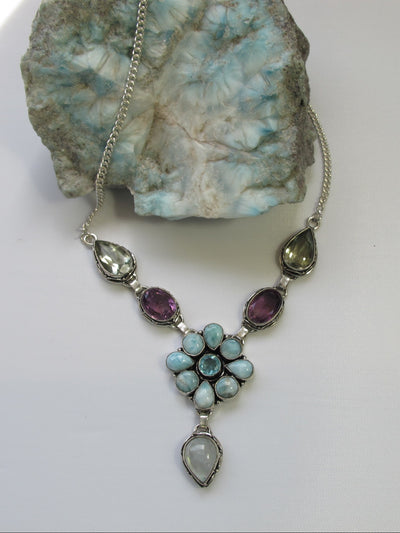 Delicate Larimar Flower Cluster Necklace 5