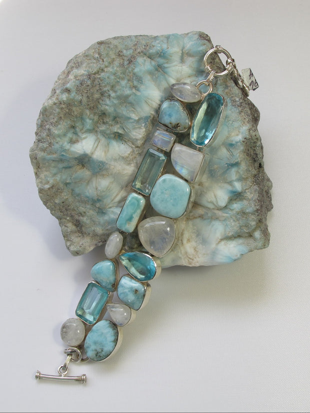 Larimar and Moonstone Bracelet 3 with Blue Topaz
