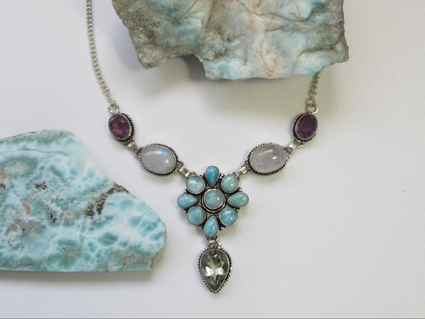 Delicate Larimar Flower Cluster Necklace 6