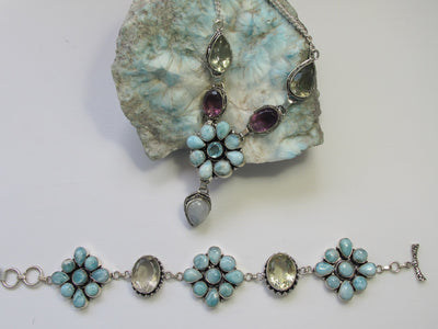 Larimar and Green Amethyst Quartz Flower Cluster Bracelet 2