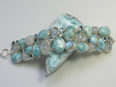 Larimar and Moonstone Bracelet 4 with Blue Topaz