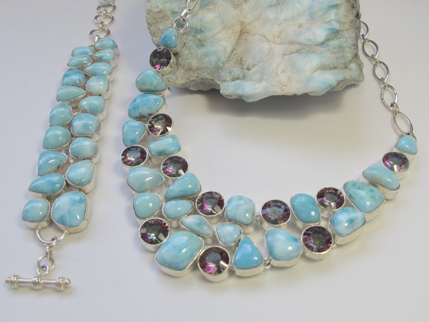 Large Larimar and Rainbow Fire Topaz Necklace