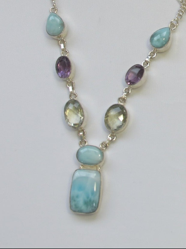 Delicate Larimar Necklace 2 with Green and Purple Amethyst Quartz