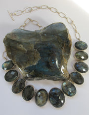 Faceted Labradorite Oval Necklace 1 - Faceted Stones