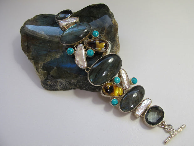 Labradorite and Multi-gemstone Bracelet