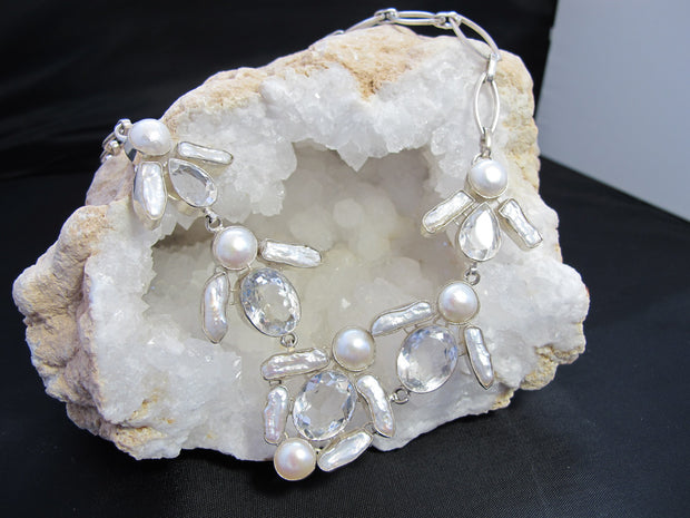 White Topaz and Pearl Necklace