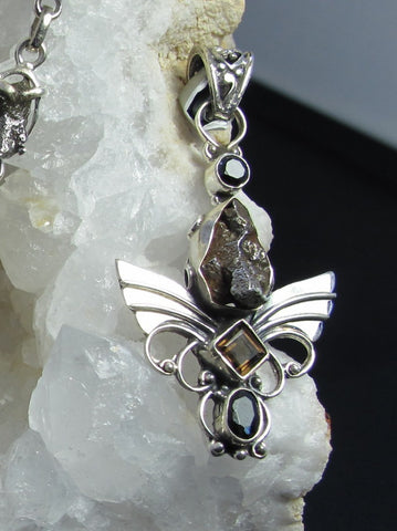 *Angel Sterling and Meteorite Pendant 4 with Onyx and Topaz