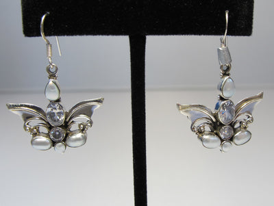 Angel Sterling and Pearl Earring Set 2 with White Topaz