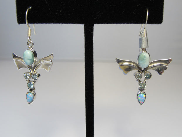 Angel Sterling and Larimar Earring  Set with Blue Topaz and Fire Opal