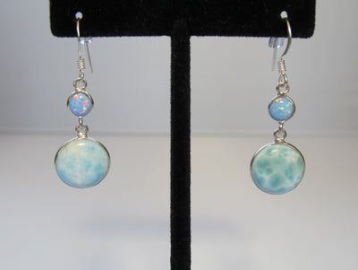 Larimar Earring Set 1 with Fire Opal