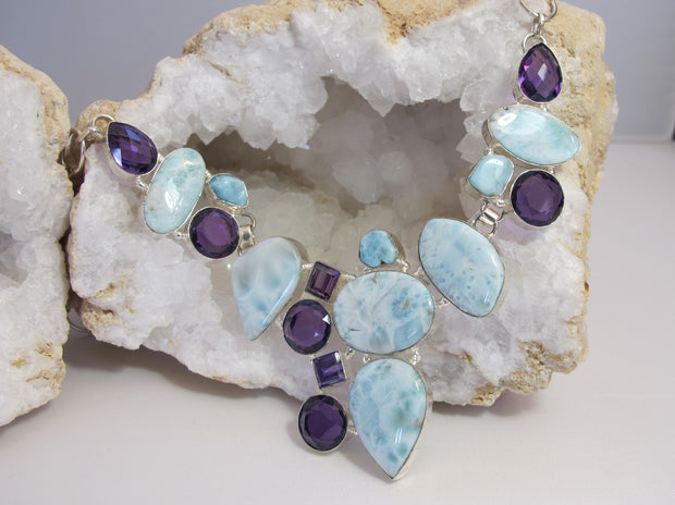 Amethyst Quartz and Larimar Necklace