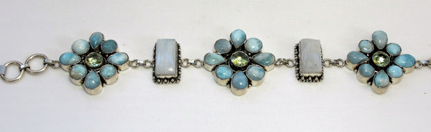 Larimar and Moonstone Flower Cluster Bracelet 10