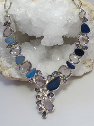 Purple and Lavender Amethyst Quartz and Opal Necklace