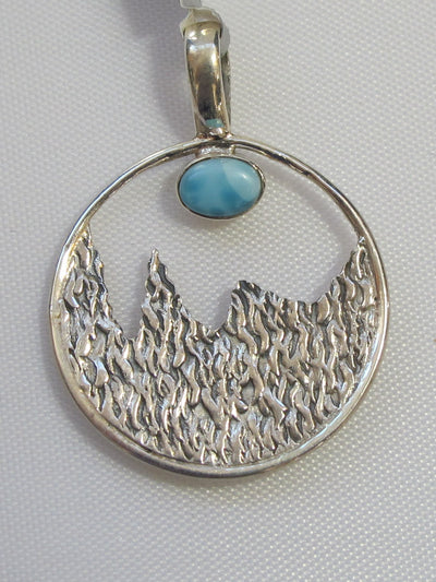 Larimar and Sterling Pendant 2