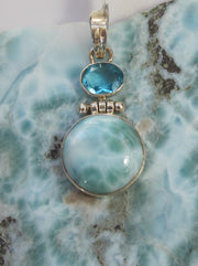 Larimar and Sterling Pendant 3 with Blue Topaz