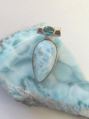 Larimar Pendant 4 with Blue Topaz