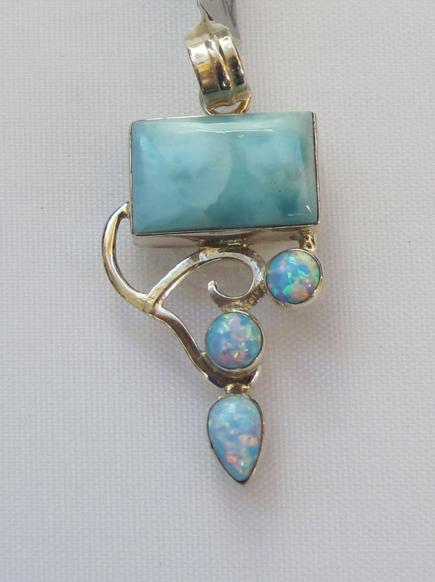 Larimar Pendant 5 with Fire Opals