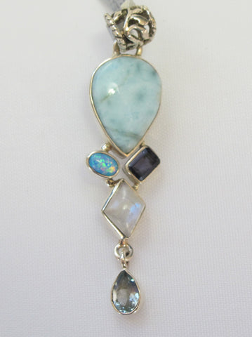 Larimar Pendant 6 with Moonstone, Fire Opal, Amethyst Quartz and Blue Topaz